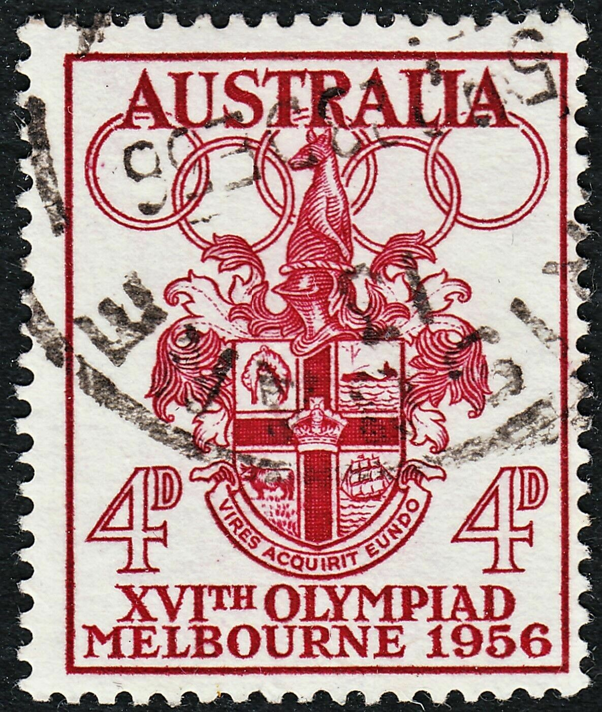 Australia 1956 QEII 4d Olympic Games with Harpoon Flaw Used