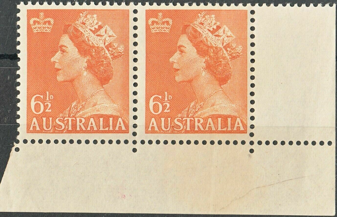 Australia 1956 QEII 6½d Orange No Watermark Marginal Pair MUH