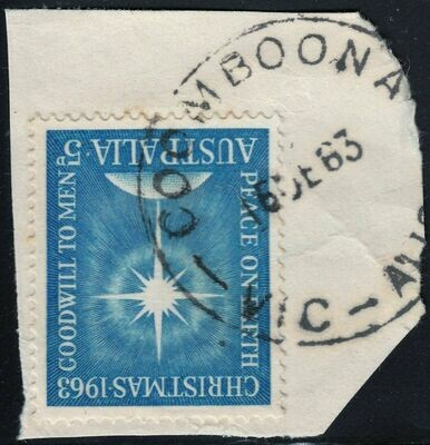 Australia 1963 QEII 5d Christmas on Piece with Coomboona CDS - Rated R