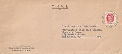 Australia 1965 QEII 5d Red on OHMS Cover with CIC Bonegilla CDS