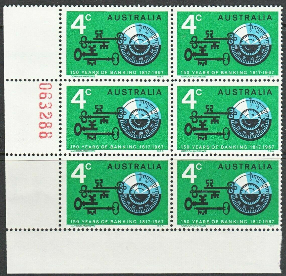 Australia 1967 4c Banking Sheet Number Block of 6 with Two Varieties MUH