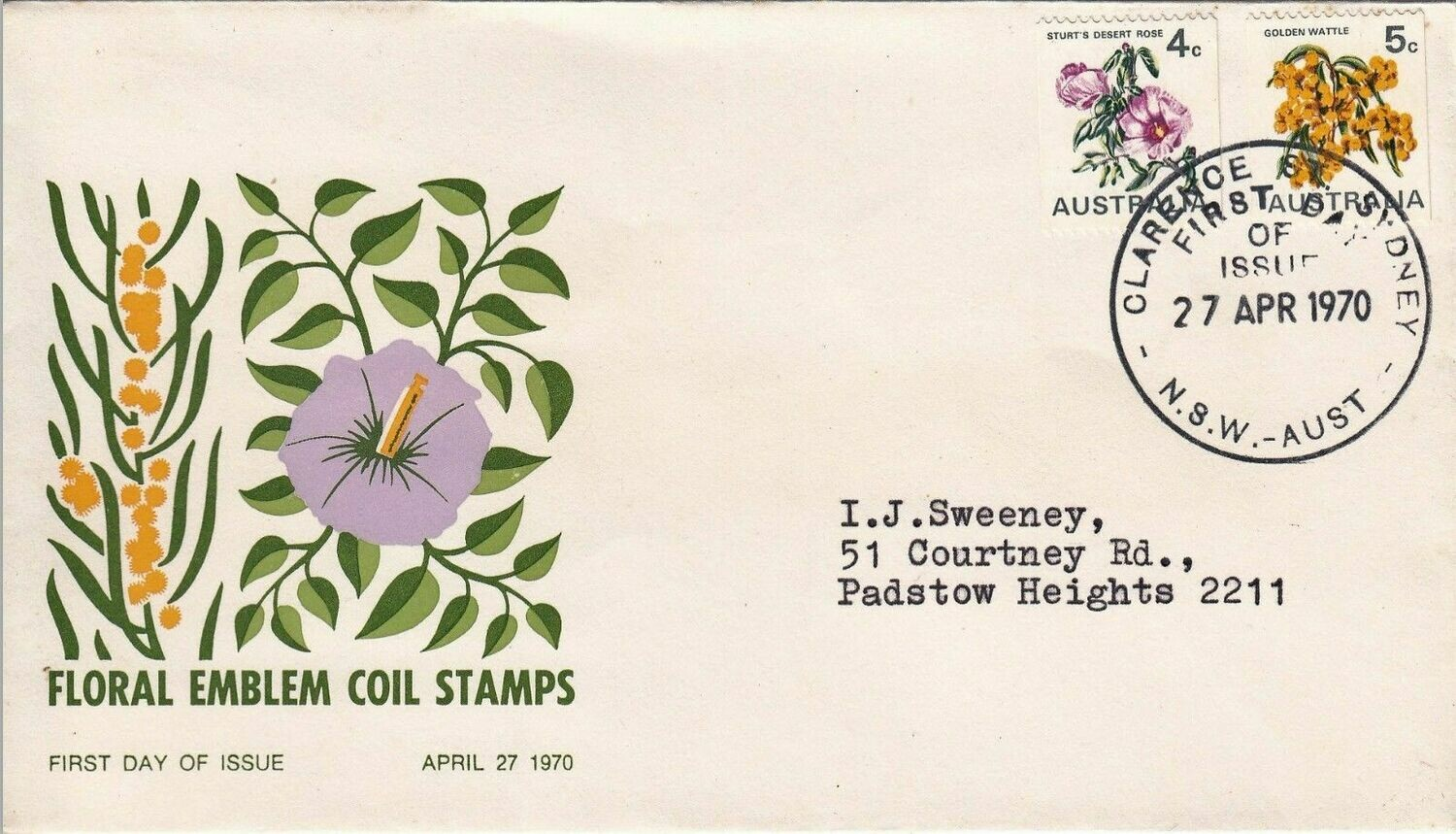 Australia 1970 Floral Coils FDC Typed Address