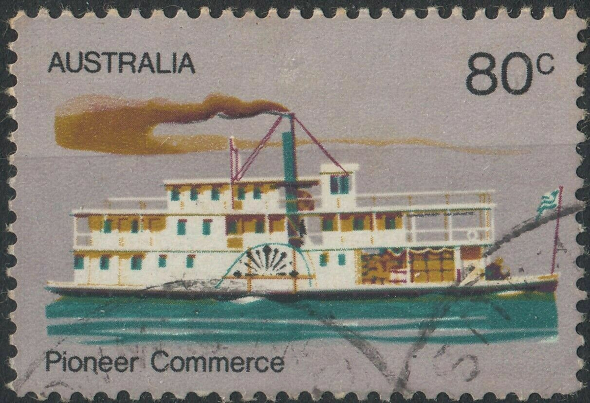 Australia 1972 QEII 80c Pioneer with Retouch Over Smoke Stack Variety VFU