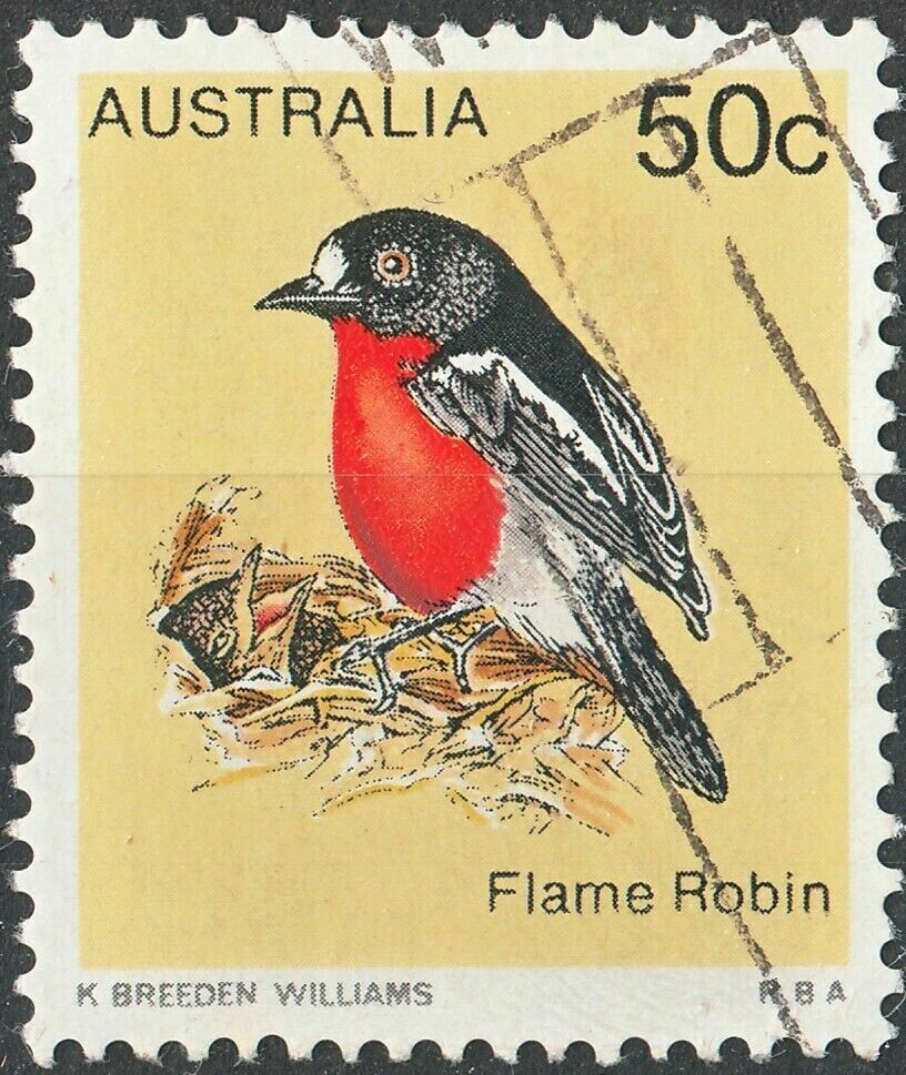 Australia 1979 QEII 50c Flame Robin with Two Red Flaws on Chest Variety FU