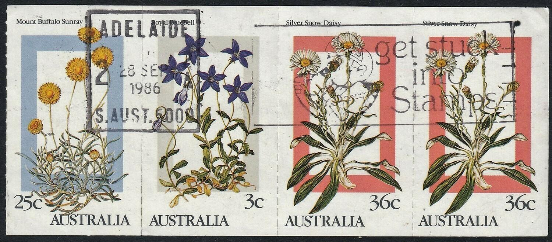 Australia 1986 QEII $1 Alpine Flowers Booklet Pane White Paper Used
