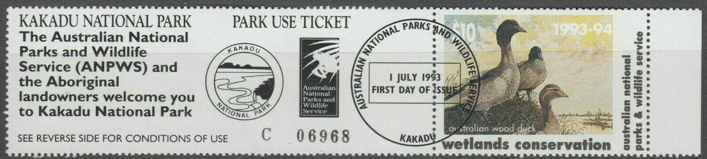 Australia 1993 $10 Wetlands Conservation Kakadu Entry First Day Cancel