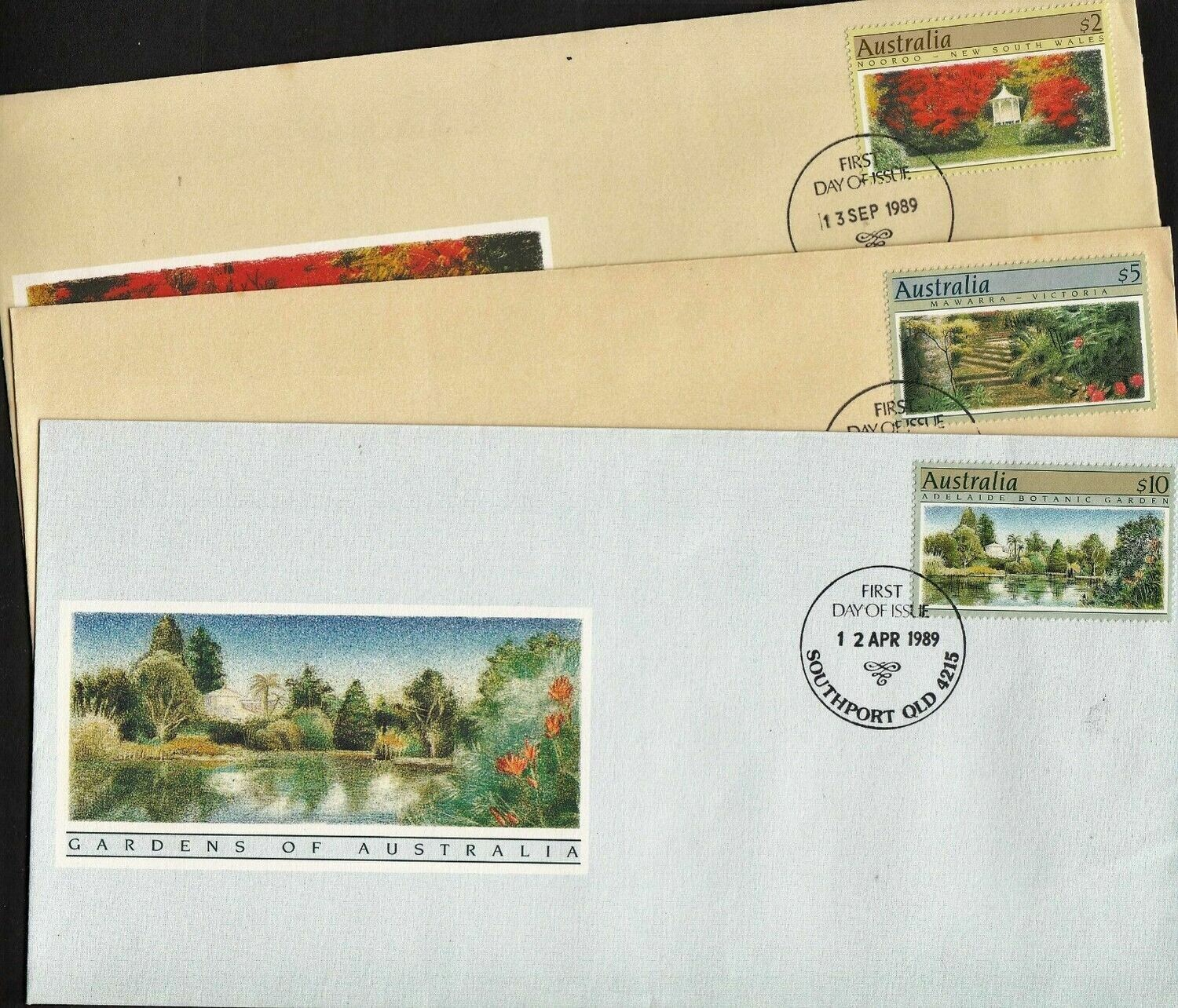 Australia 1989 QEII High Value Gardens on Individual FDC's