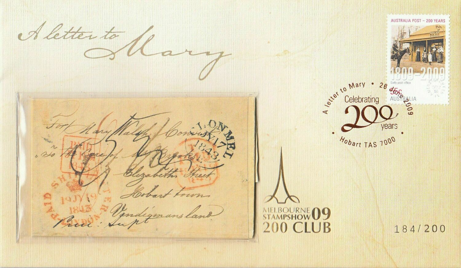 """Australia 2009 Prestige """"Letter to Mary"""" Cover with Melbourne 200 Club Cancel"""