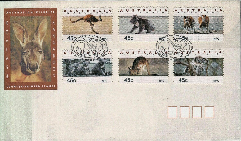 Australia 1994 QEII Koalas and Kangaroos Counter Printed Stamps NPC on FDC