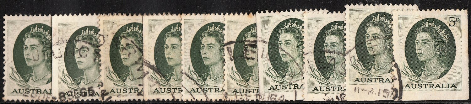 Australia Wholesale 1963 QEII 5d Green Booklet Stamps x 10 F-VF Used