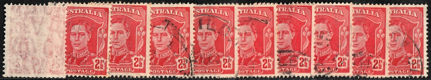 Australia Wholesale 1942 KGVI 2½d Red Inverted Wmk (ex-booklet) x 10 F-VF Used