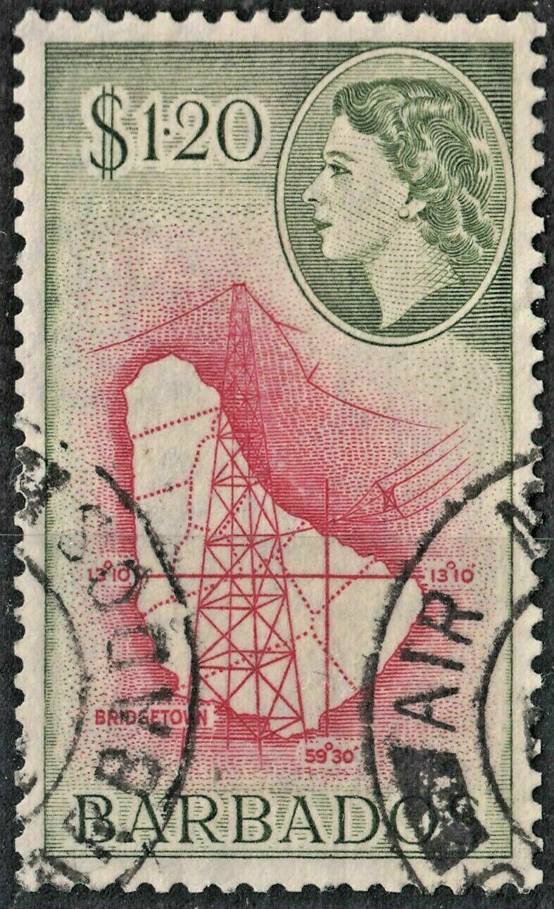 Barbados 1956 QEII $1.20 Carmine & Bronze-Green FU
