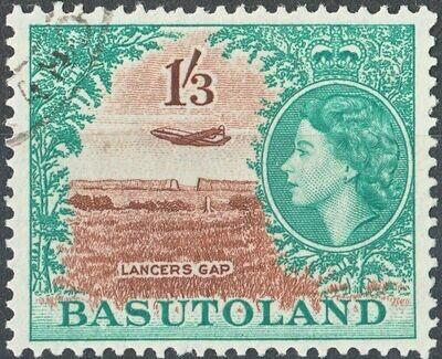 Basutoland 1954 QEII 1/3d Brown & Turquoise Green VFU