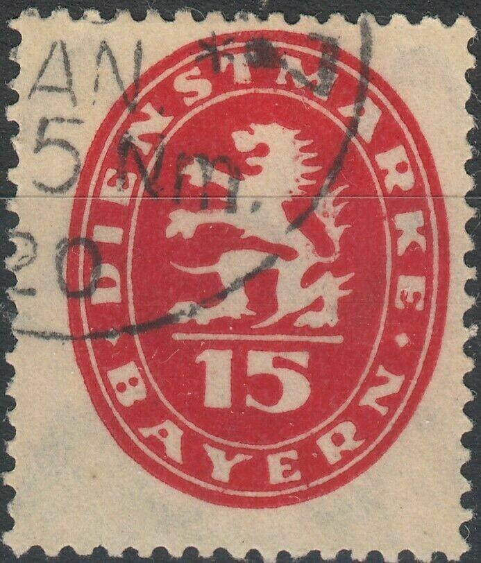 Bavaria 1920 15pf Red Postage Due FU
