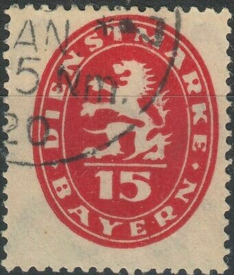 Bavaria 1920 15pf Red Postage Due FU