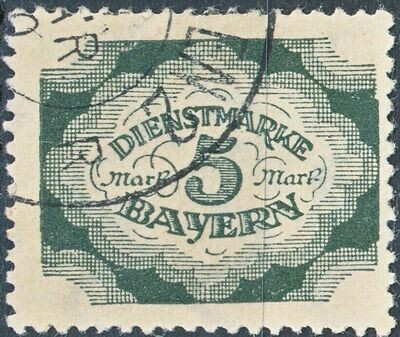 Bavaria 1920 5m Green Postage Due FU