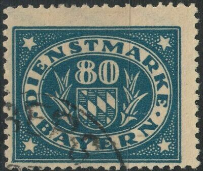 Bavaria 1920 80pf Blue Postage Due FU