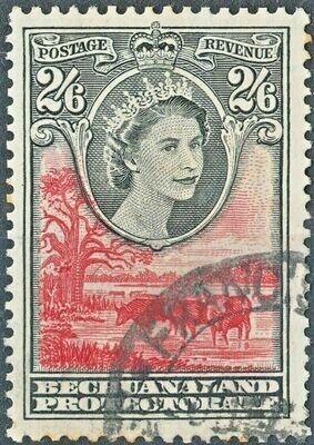 Bechuanaland 1955 QEII 2/6d Black & Rose-Red VFU