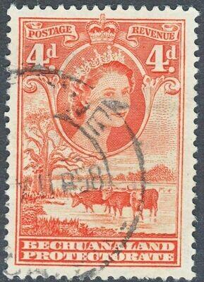 Bechuanaland 1958 QEII 4d Red-orange FU
