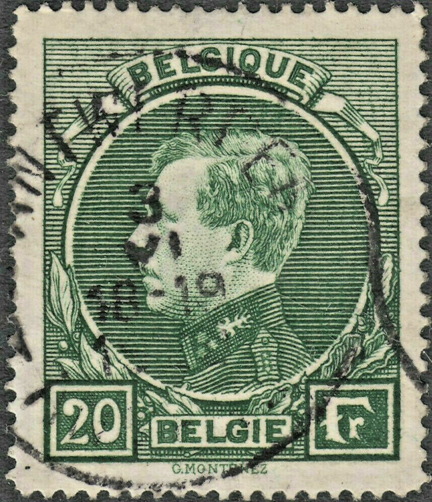 Belgium 1929 20f Green Albert I Used