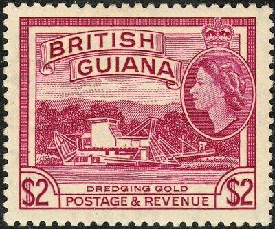 British Guiana 1961 QEII $2 Dredging Gold DLR Printing MLH