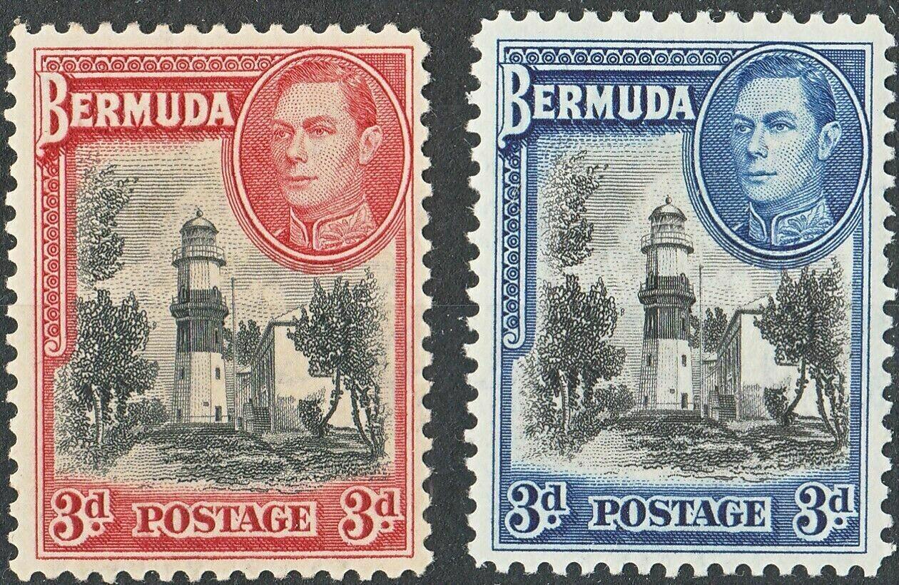 Bermuda 1938-41 KGVI 3d Black & Red and Black & Blue MH