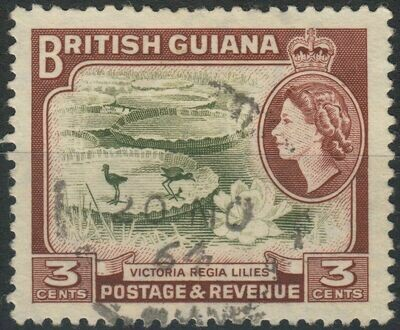 British Guiana 1954 QEII 3c Brown-Olive & Red-Brown with Clubbed Foot Variety FU