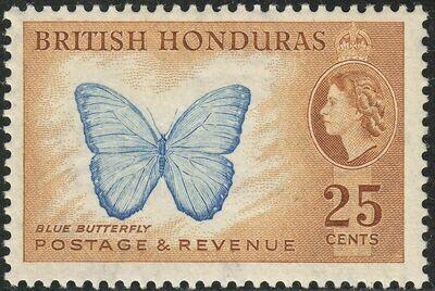 British Honduras 1953 QEII 25c Blue Butterfly MH