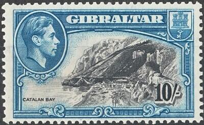 Gibraltar 1943 KGVI 10/- Black & Blue Perf 13 MVLH