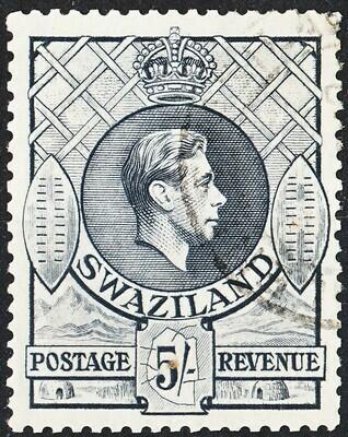 Swaziland 1938 KGVI 5/- Grey VFU
