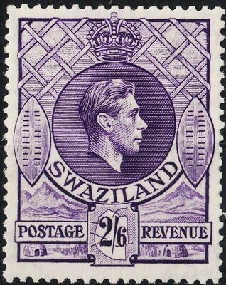 Swaziland 1943 KGVI 2/6d Violet Perf 13� x 14 MH