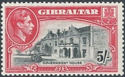 Gibraltar 1944 KGVI 5/- Black & Carmine Perf 13 MH