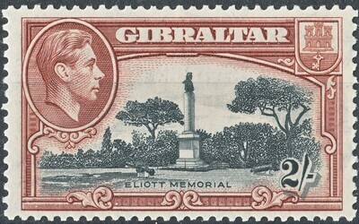Gibraltar 1942 KGVI 2/- Black & Brown Perf 13 MH