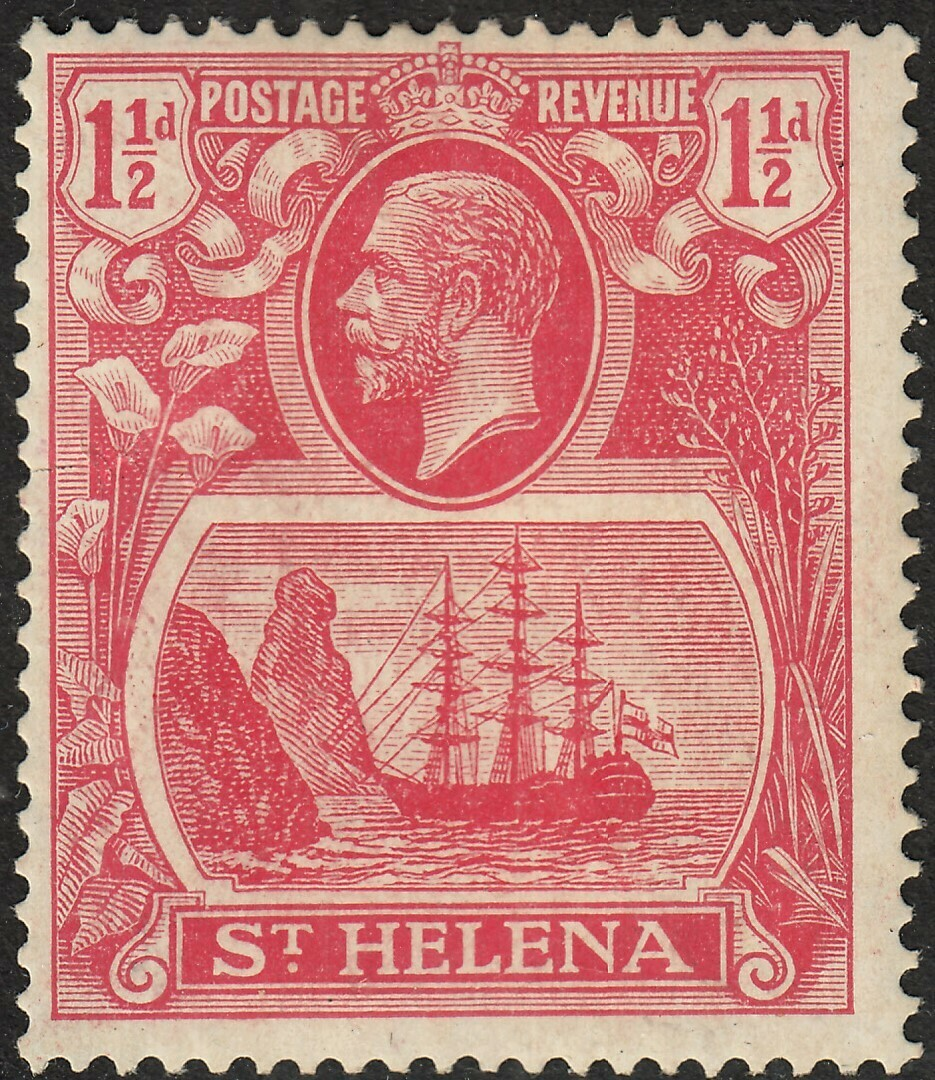 St Helena 1923 KGV 1�d Rose Red with Torn Flag MH