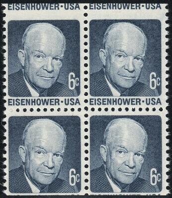 USA 1970-74 6c Eisenhower Misperforated Block of 4 MUH