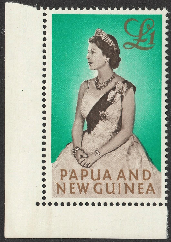PNG 1963 QEII �1 Portrait Corner Marginal MUH