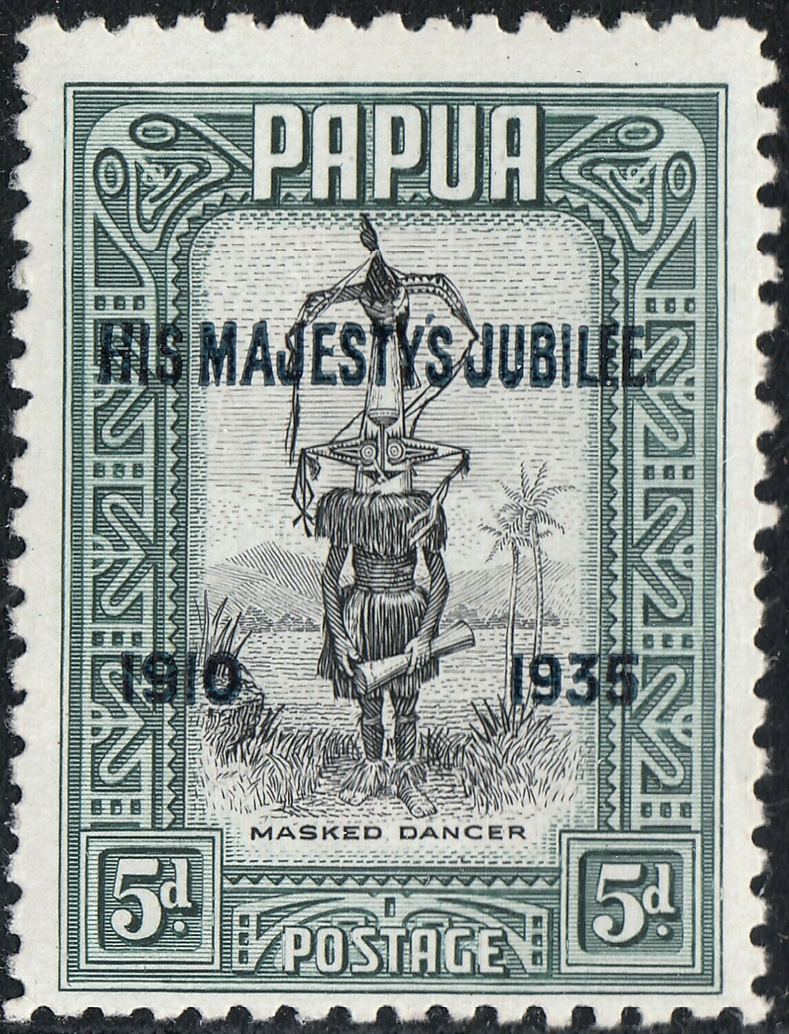 """Papua 1935 KGV 5d Jubilee Overprint with """"Accent Flaw"""" MVLH"""