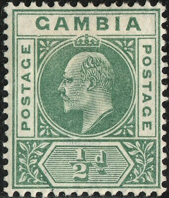 Gambia 1902 KGVI �d Green with Dented Frame MH
