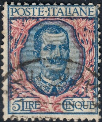 Italy 1901 5L Blue and Pink VFU