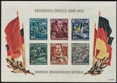 Germany (East) 1955 135th Birth Anniversary of Engels Miniature Sheet MUH