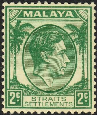 Straits Settlements 1937 KGVI 2c Green MH