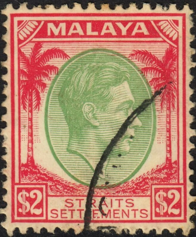 Straits Settlements 1938 KGVI $2 Green and Scarlet VFU