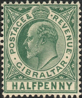 Gibraltar 1906 KEVII ½d Blue Green MH (remnant)