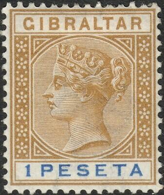Gibraltar 1895 QV 1p Bistre & Ultramarine MH