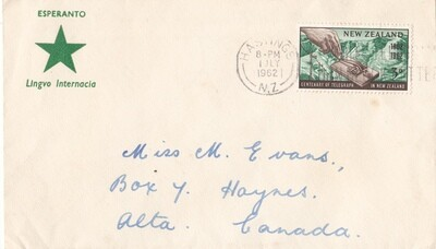 New Zealand 1962 QEII 3d Telegraph on Esperanto Cover to Canada