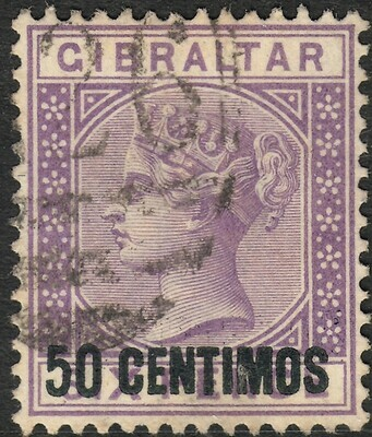 Gibraltar 1889 QV 50c on 6d Bright Lilac Fine Used