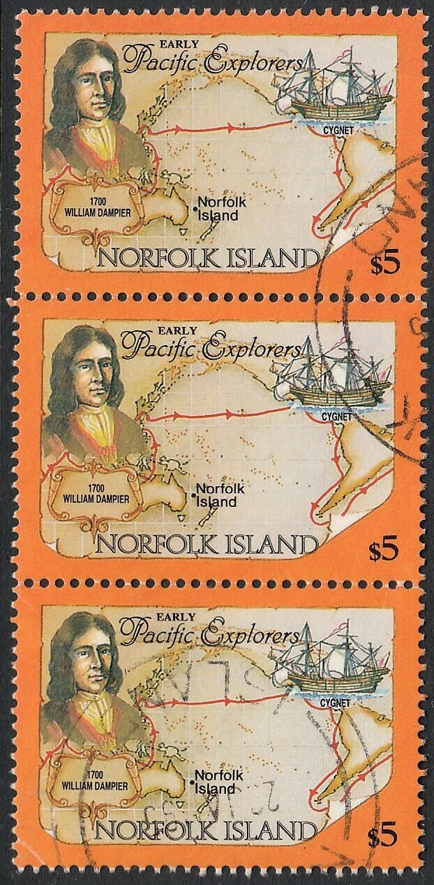 Norfolk Island 1994 QEII $5 Dampier Strip of 3 VFU