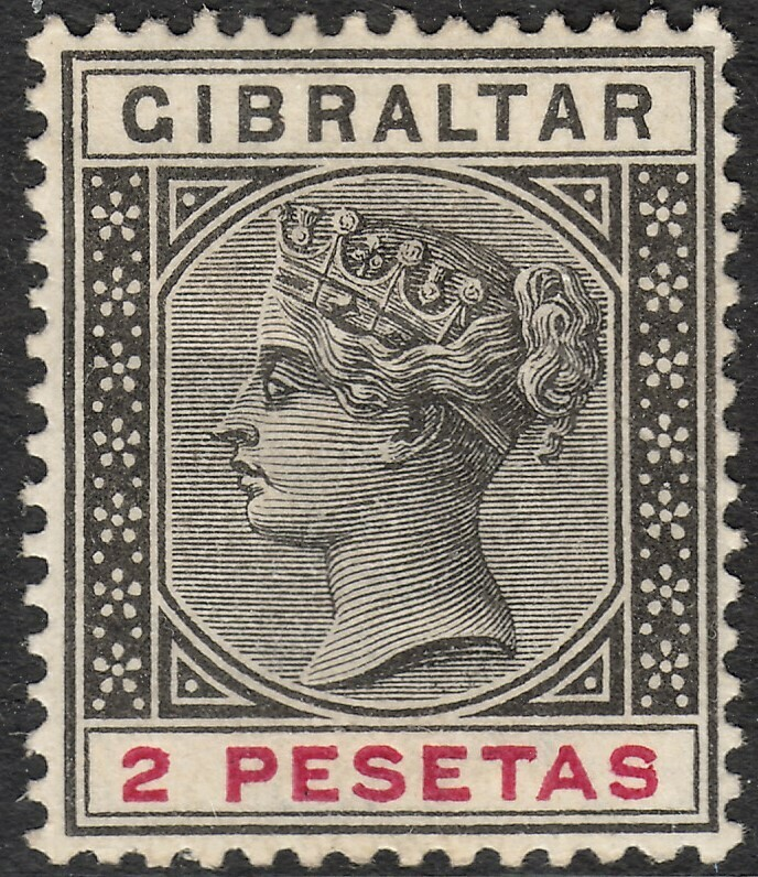 Gibraltar 1896 QV 2p Black & Carmine MH