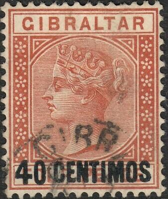 Gibraltar 1889 QV 40c on 4d Orange-Brown Fine Used