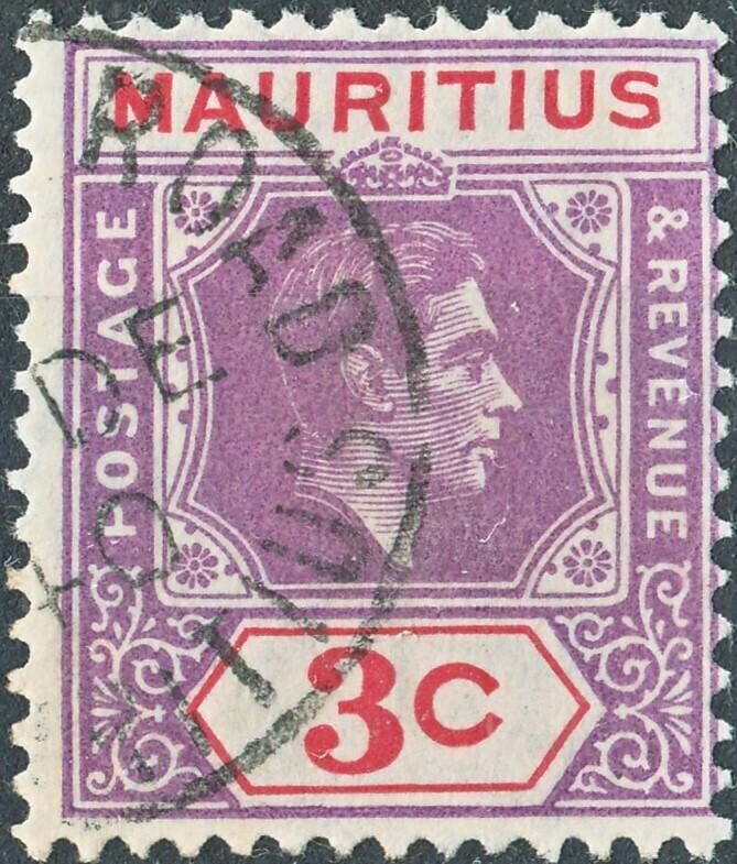 Mauritius 1938 KGVI 3c Reddish Purple & Scarlet with Sliced S Variety FU